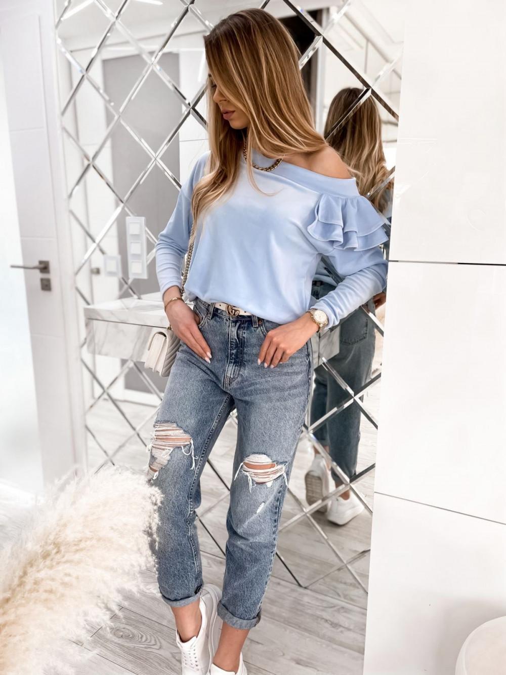 Jasnoniebieska bluza na jedno ramię z falbanami Jasmine 2