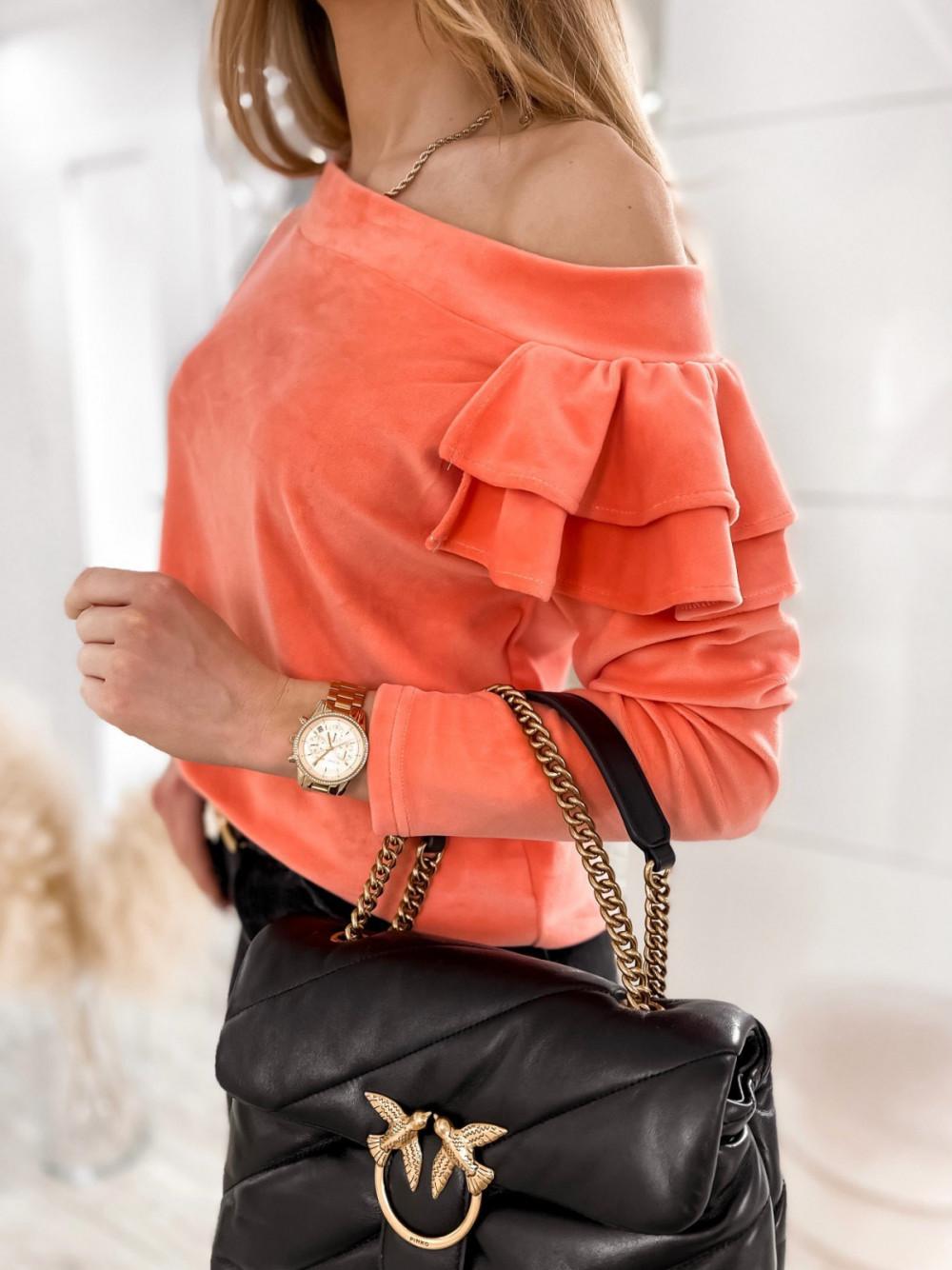 Pomarańczowa bluza na jedno ramię z falbanami Jasmine 3