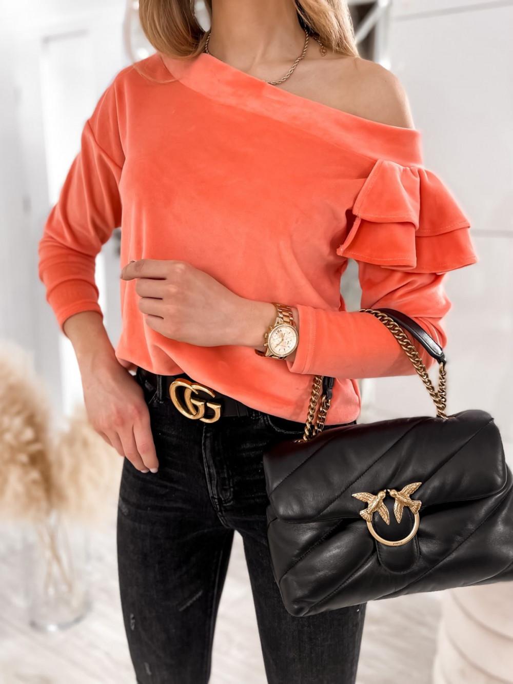 Pomarańczowa bluza na jedno ramię z falbanami Jasmine 1