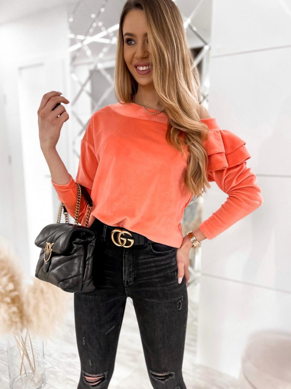 Pomarańczowa bluza na jedno ramię z falbanami Jasmine 4