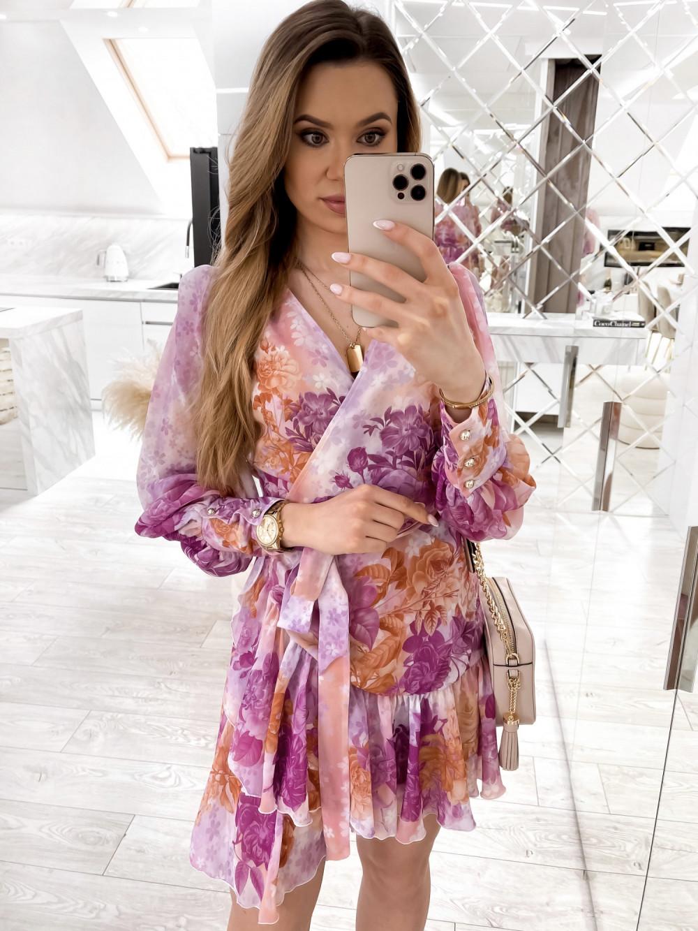 Fioletowo-pomarańczowa sukienka szyfonowa w kwiaty Flores 1