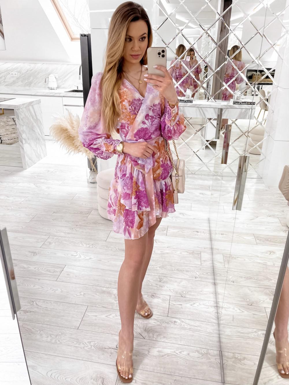 Fioletowo-pomarańczowa sukienka szyfonowa w kwiaty Flores 2