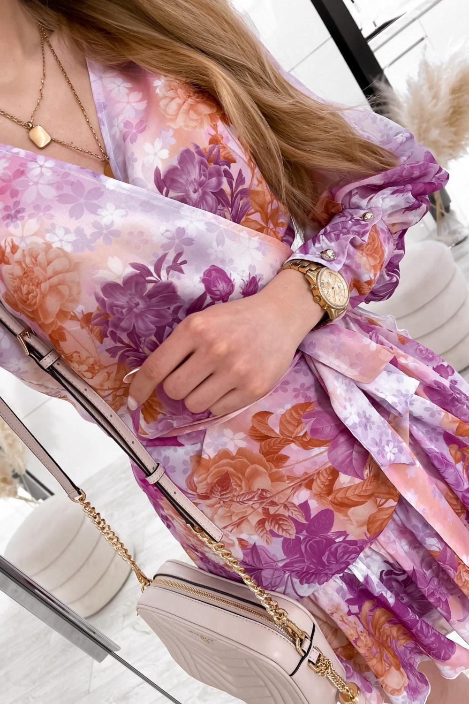 Fioletowo-pomarańczowa sukienka szyfonowa w kwiaty Flores 6