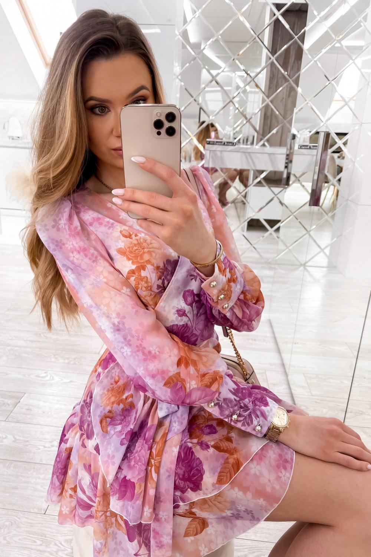 Fioletowo-pomarańczowa sukienka szyfonowa w kwiaty Flores 3