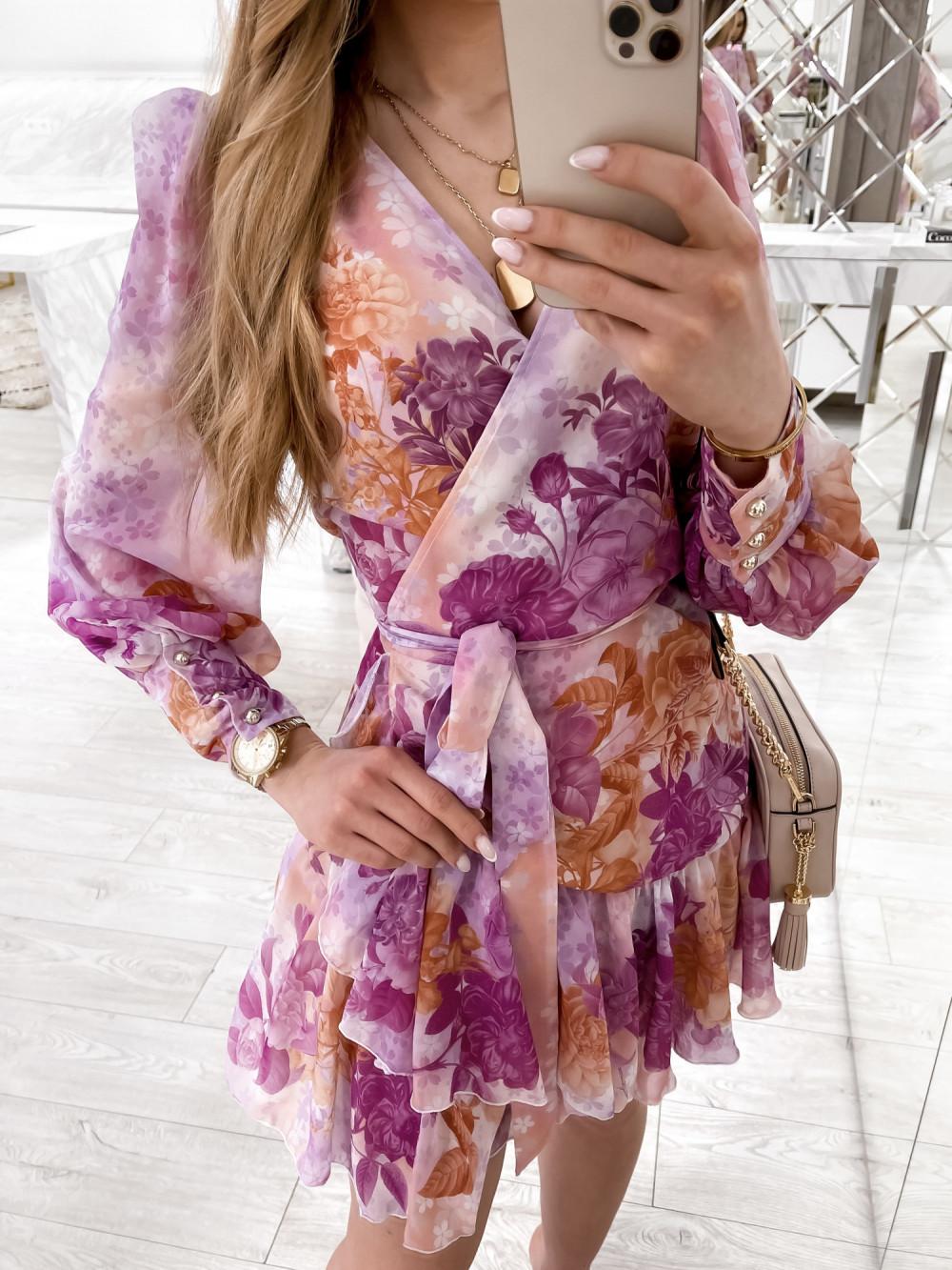 Fioletowo-pomarańczowa sukienka szyfonowa w kwiaty Flores 4