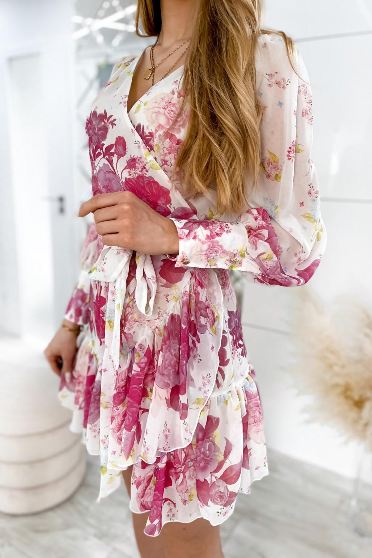 Ecru-różowa sukienka szyfonowa w kwiaty Flores 4