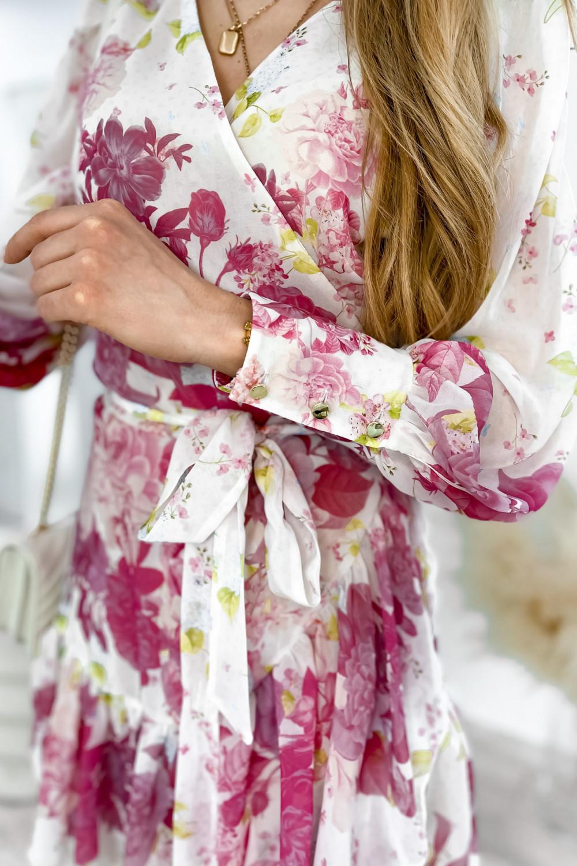 Ecru-różowa sukienka szyfonowa w kwiaty Flores 5