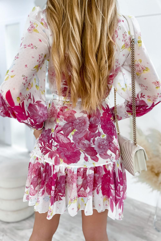 Ecru-różowa sukienka szyfonowa w kwiaty Flores 7