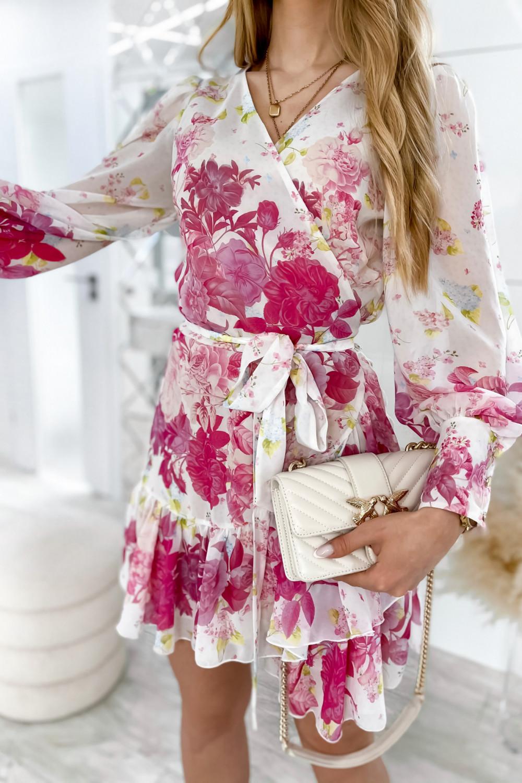 Ecru-różowa sukienka szyfonowa w kwiaty Flores 6
