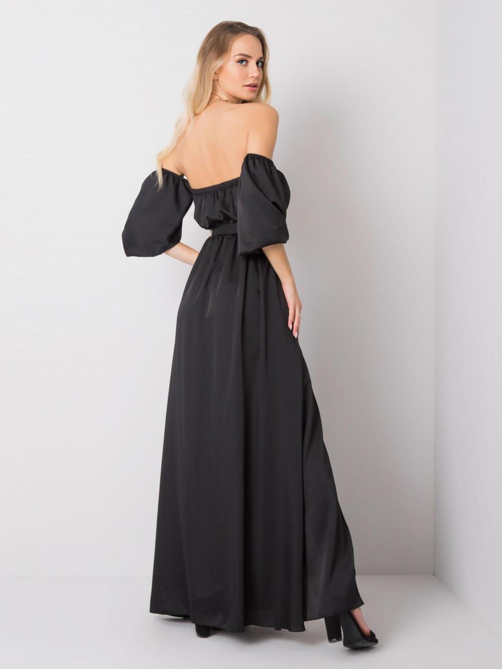 Czarna sukienka hiszpanka z wycięciem na nogę maxi Scarlett 4