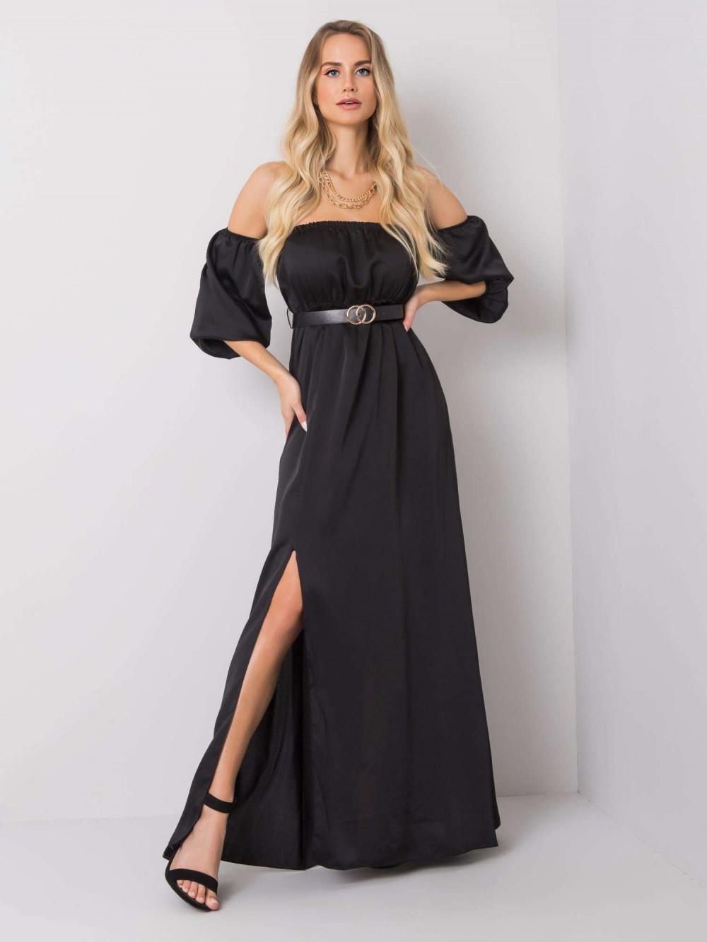 Czarna sukienka hiszpanka z wycięciem na nogę maxi Scarlett 1