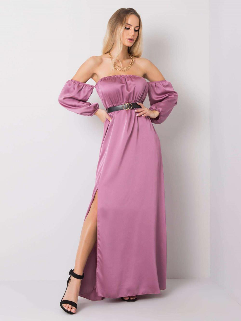 Fioletowa sukienka hiszpanka z wycięciem na nogę maxi Scarlett 1
