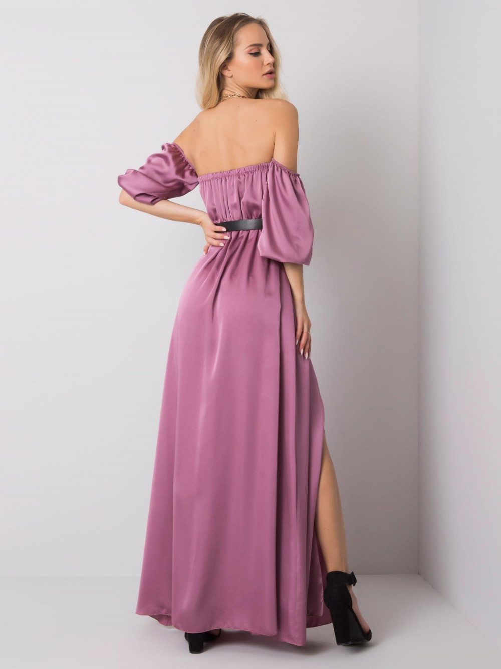 Fioletowa sukienka hiszpanka z wycięciem na nogę maxi Scarlett 4
