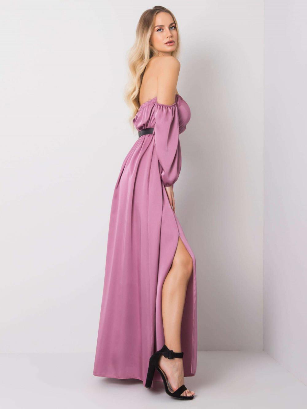 Fioletowa sukienka hiszpanka z wycięciem na nogę maxi Scarlett 3