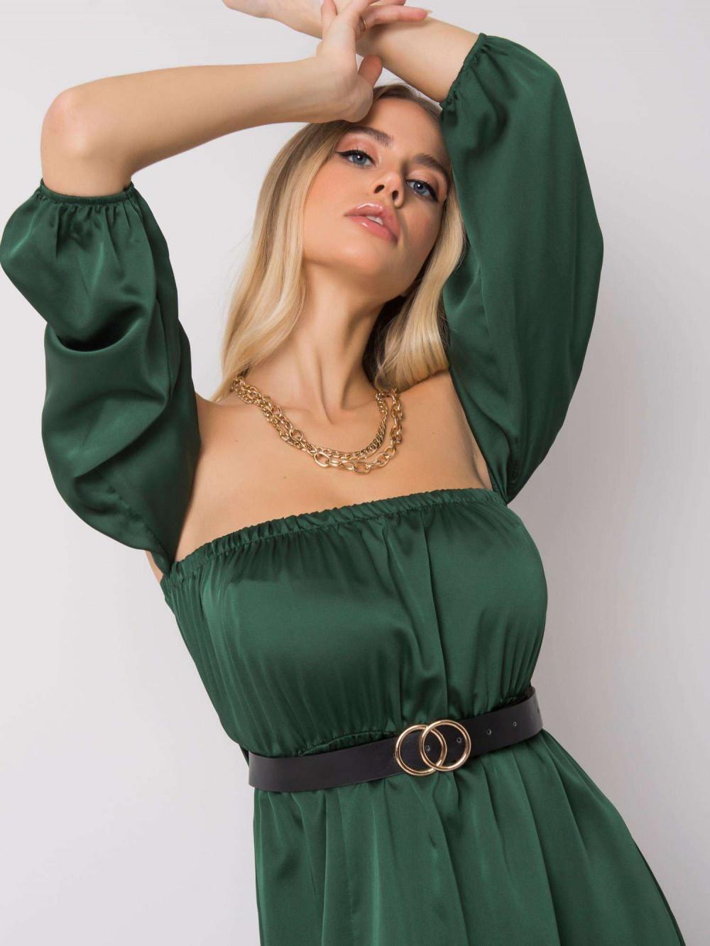 Zielona sukienka hiszpanka z wycięciem na nogę maxi Scarlett 3
