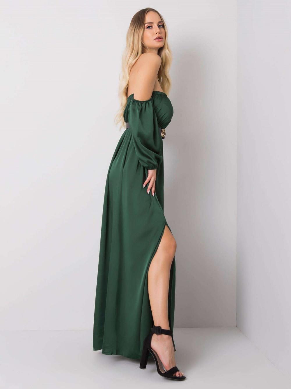 Zielona sukienka hiszpanka z wycięciem na nogę maxi Scarlett 4