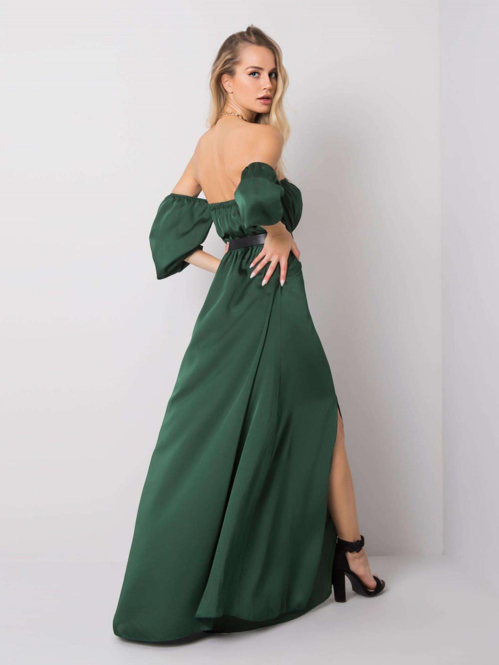 Zielona sukienka hiszpanka z wycięciem na nogę maxi Scarlett 5