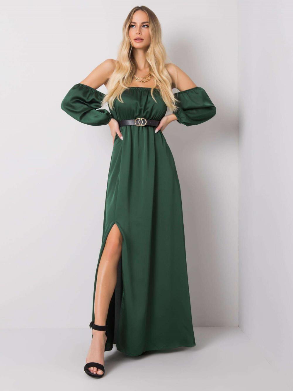 Zielona sukienka hiszpanka z wycięciem na nogę maxi Scarlett 1