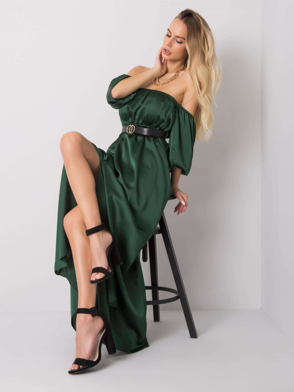 Zielona sukienka hiszpanka z wycięciem na nogę maxi Scarlett 2