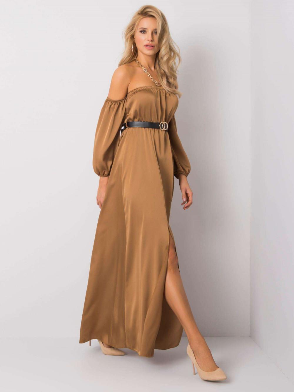 Karmelowa sukienka hiszpanka z wycięciem na nogę maxi Scarlett 1