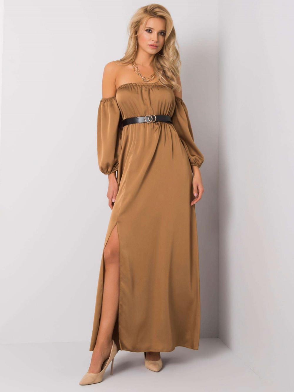 Karmelowa sukienka hiszpanka z wycięciem na nogę maxi Scarlett 3