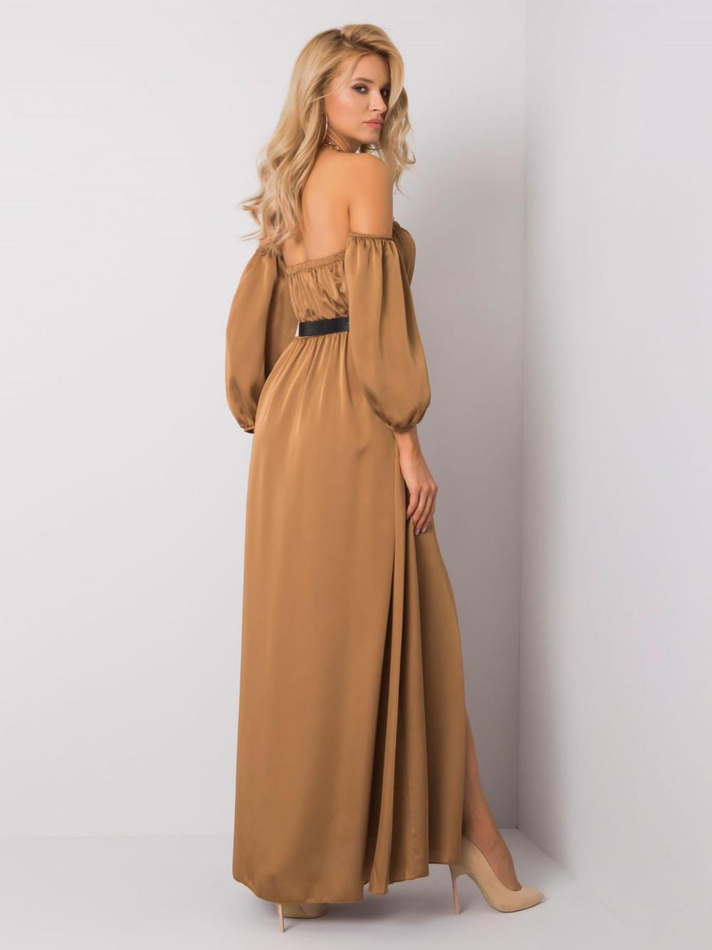 Karmelowa sukienka hiszpanka z wycięciem na nogę maxi Scarlett 4