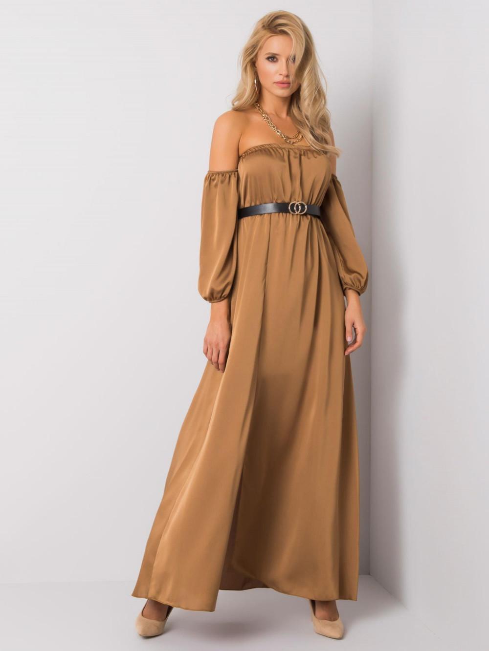 Karmelowa sukienka hiszpanka z wycięciem na nogę maxi Scarlett 2