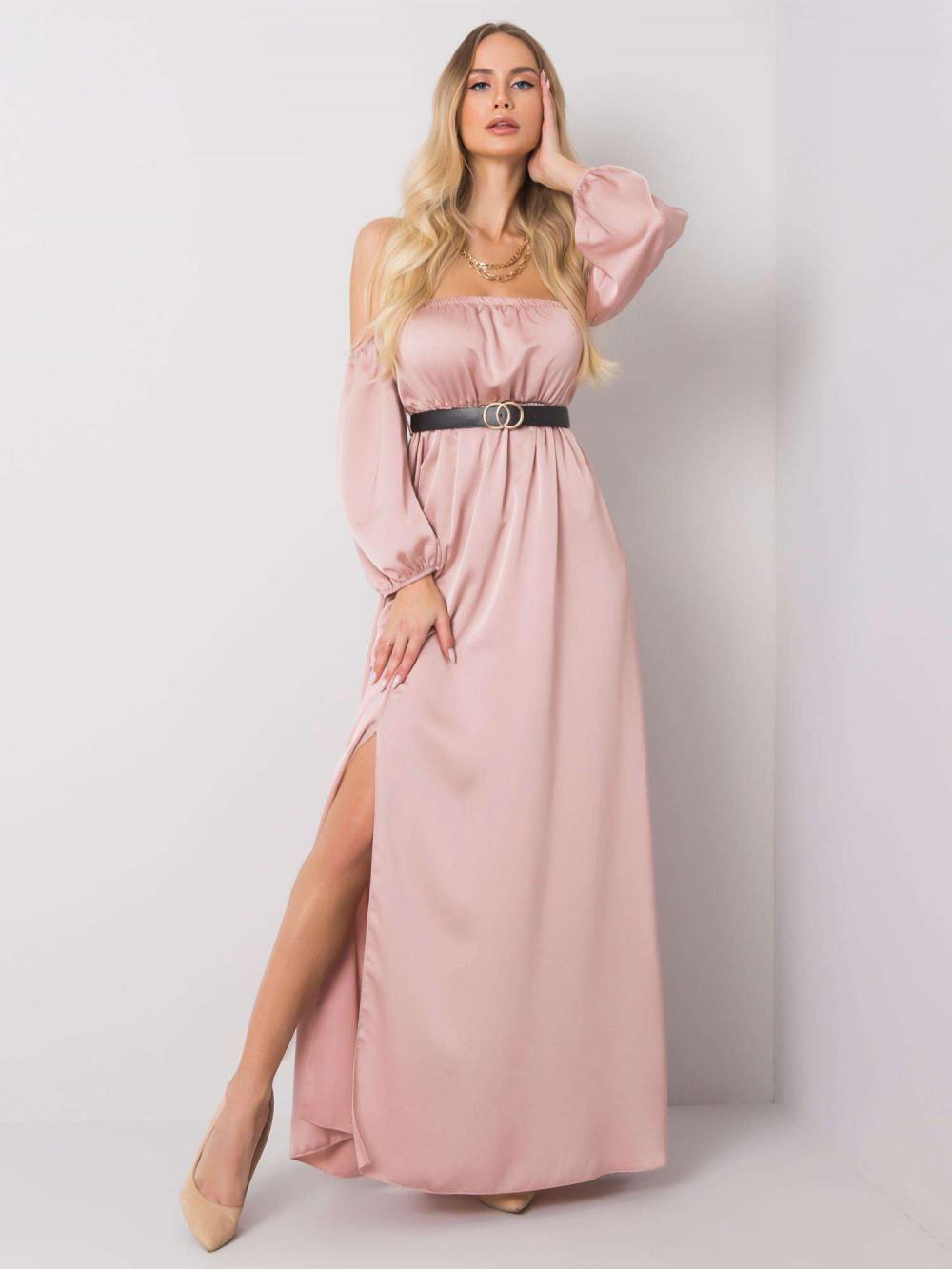 Różowa sukienka hiszpanka z wycięciem na nogę maxi Scarlett 1