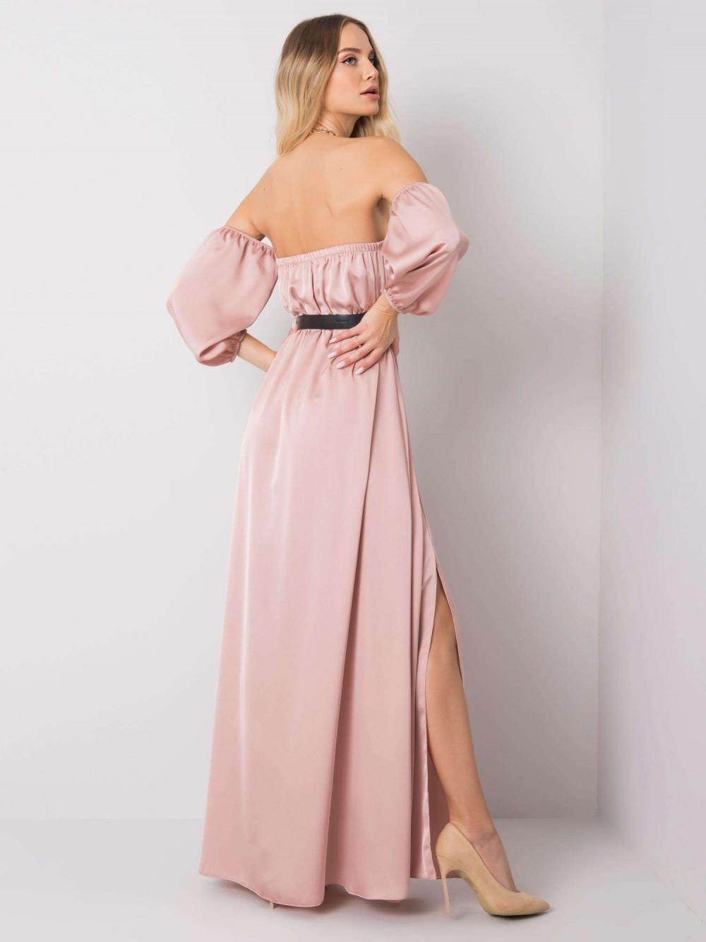 Różowa sukienka hiszpanka z wycięciem na nogę maxi Scarlett 4