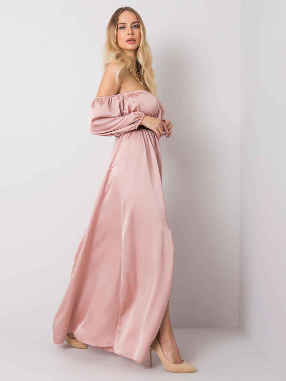 Różowa sukienka hiszpanka z wycięciem na nogę maxi Scarlett 3