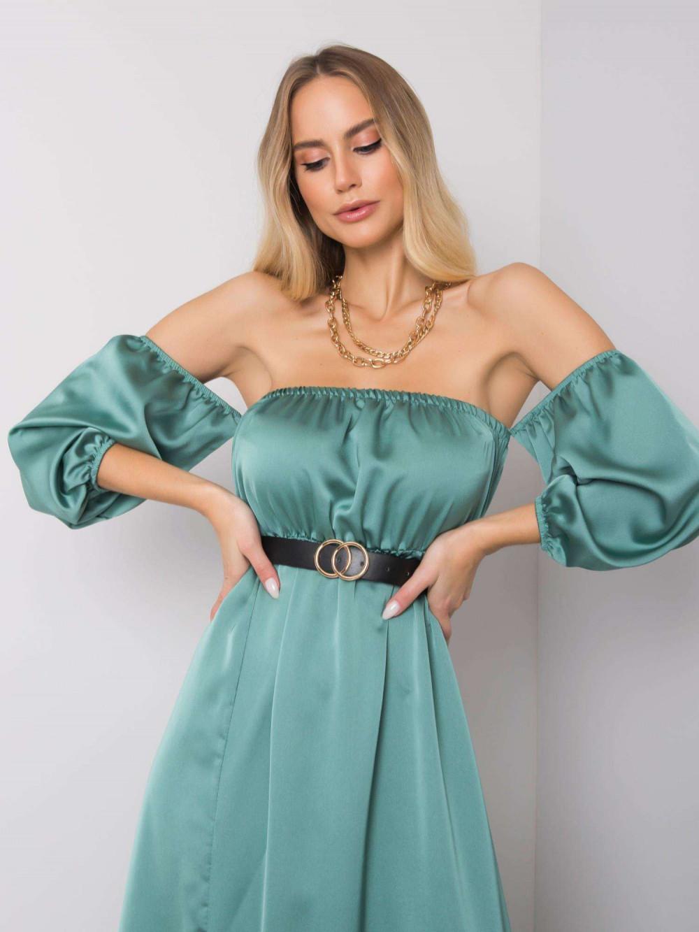 Miętowa sukienka hiszpanka z wycięciem na nogę maxi Scarlett 3