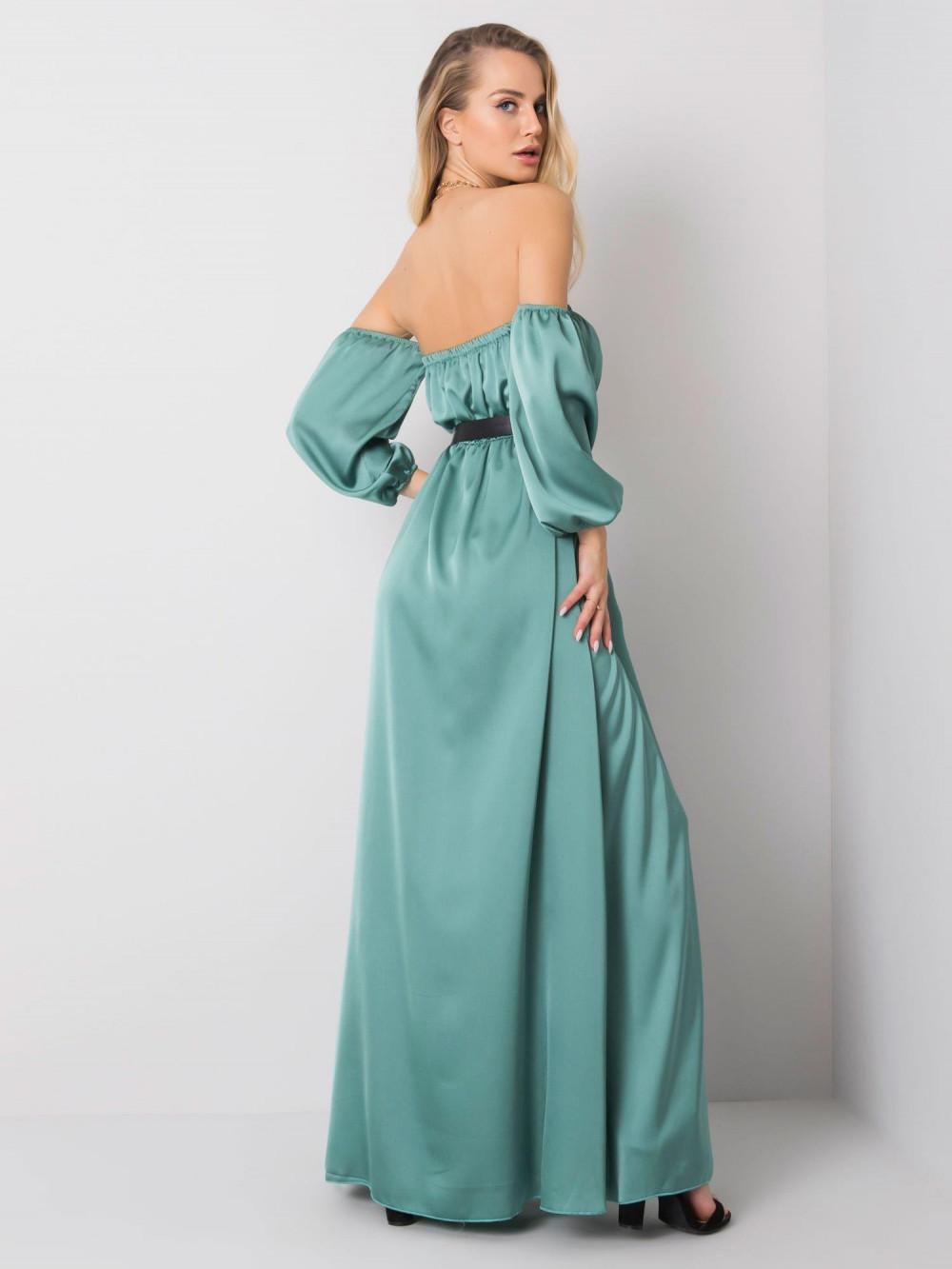 Miętowa sukienka hiszpanka z wycięciem na nogę maxi Scarlett 5