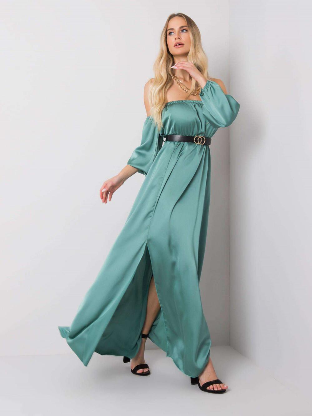 Miętowa sukienka hiszpanka z wycięciem na nogę maxi Scarlett 2