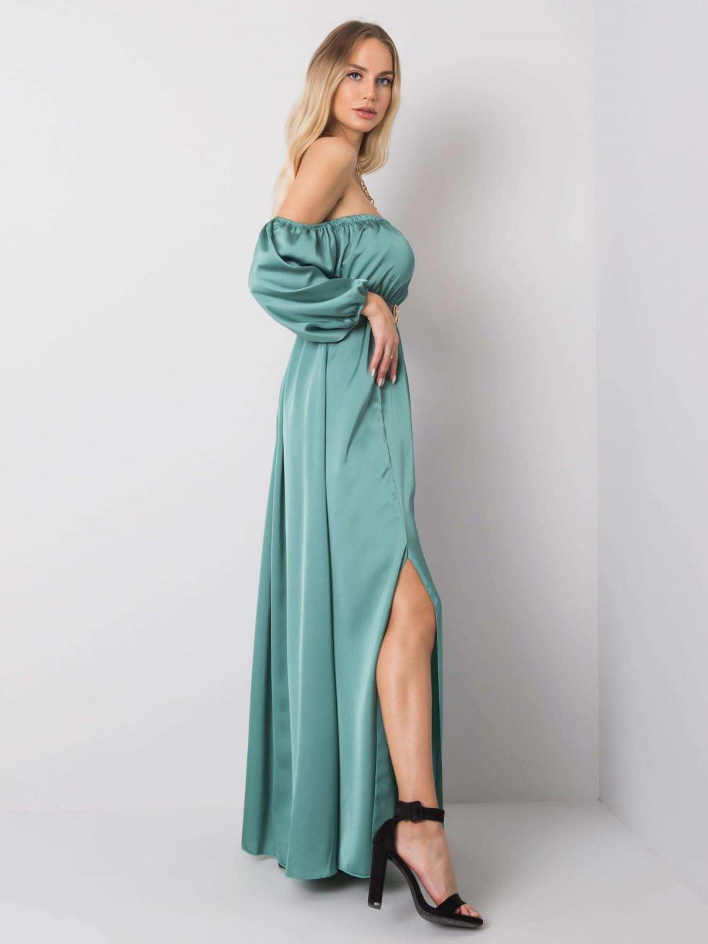Miętowa sukienka hiszpanka z wycięciem na nogę maxi Scarlett 4