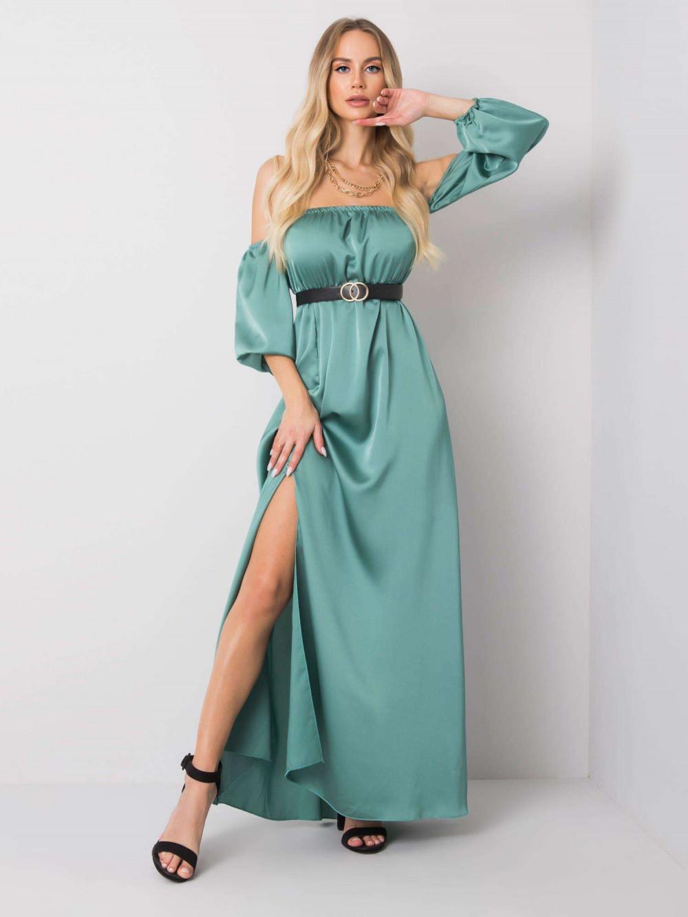 Miętowa sukienka hiszpanka z wycięciem na nogę maxi Scarlett 1