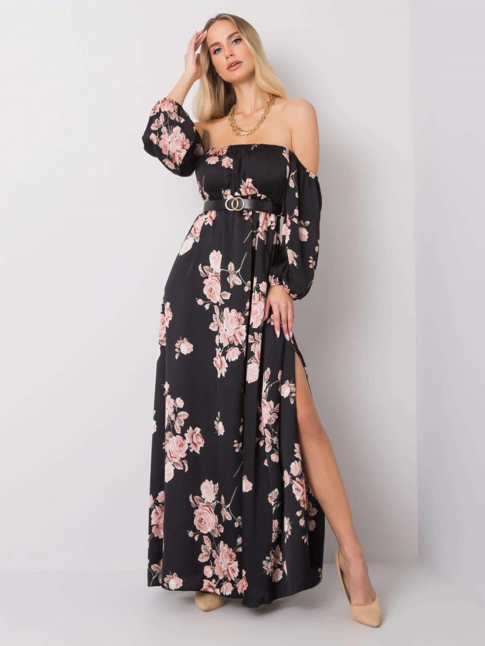 Czarno-różowa sukienka kwiatowa hiszpanka z wycięciem na nogę maxi Scarlett 1