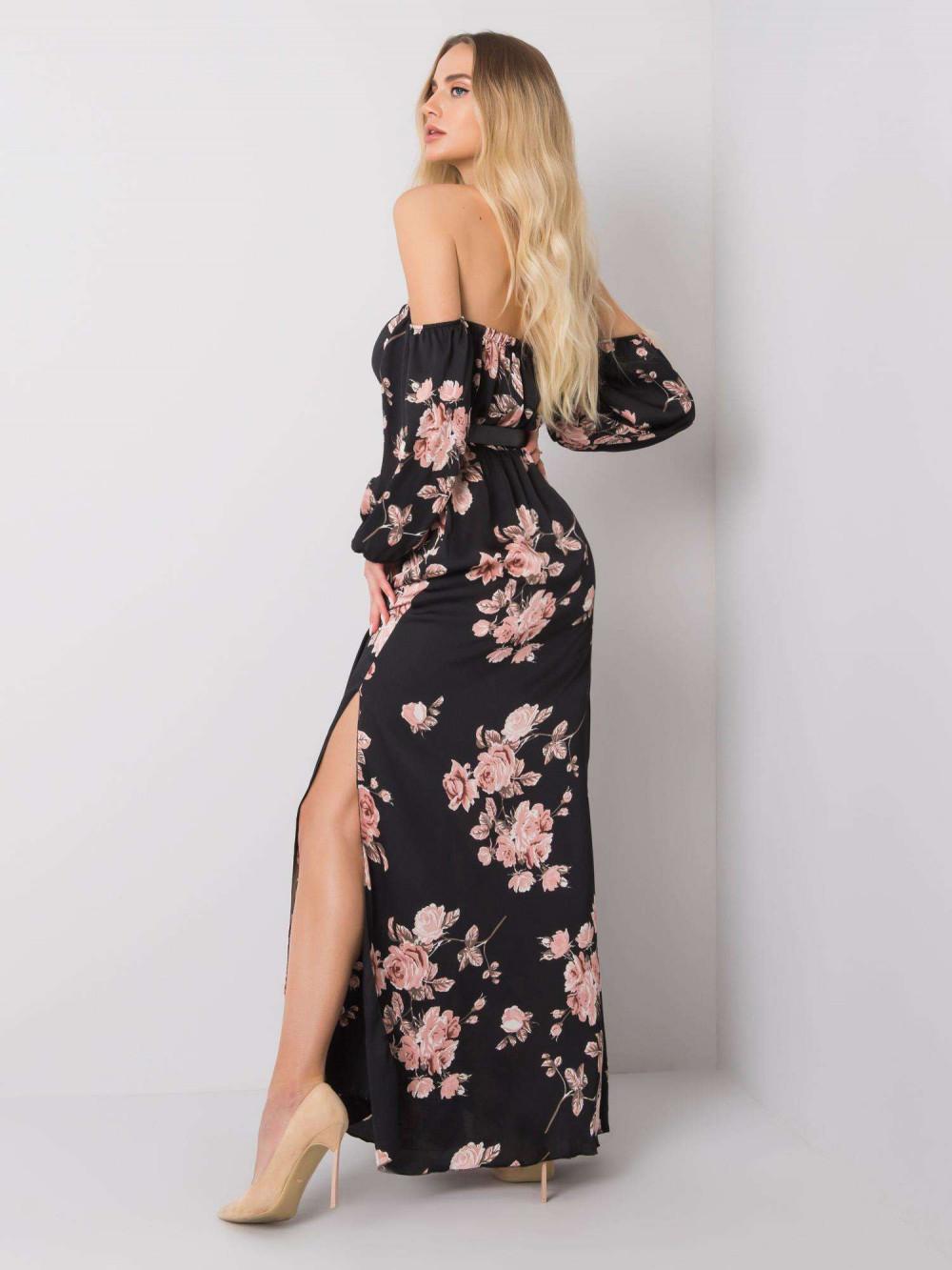 Czarno-różowa sukienka kwiatowa hiszpanka z wycięciem na nogę maxi Scarlett 4