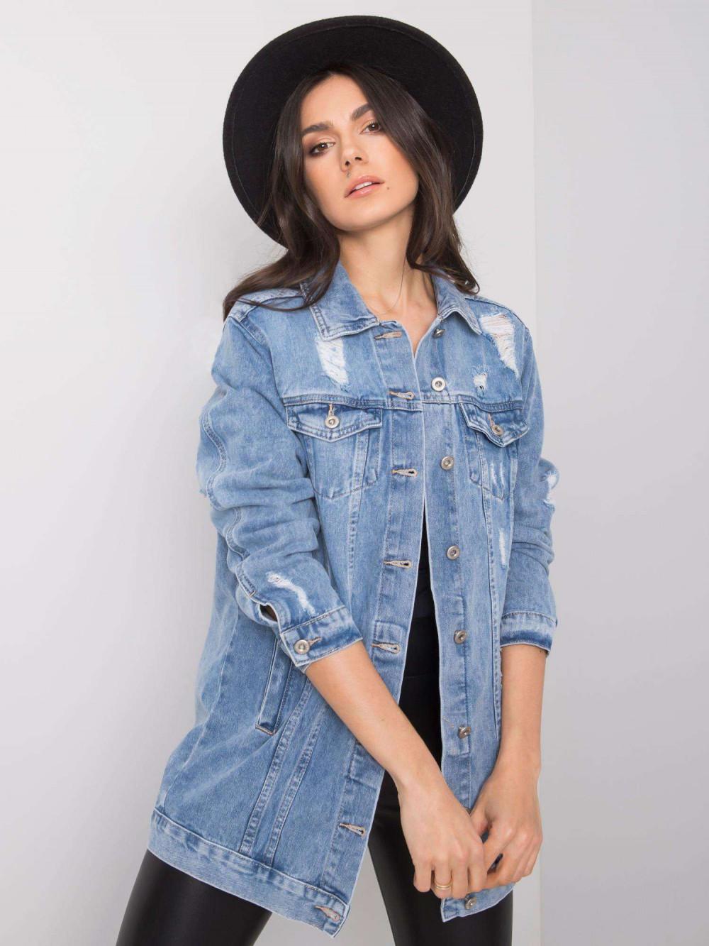 Niebieska kurtka jeansowa z przetarciami Ashley 2