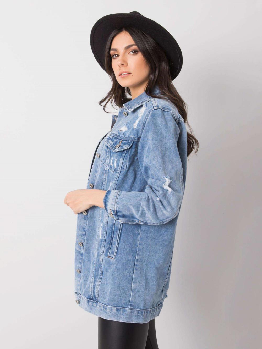 Niebieska kurtka jeansowa z przetarciami Ashley 3