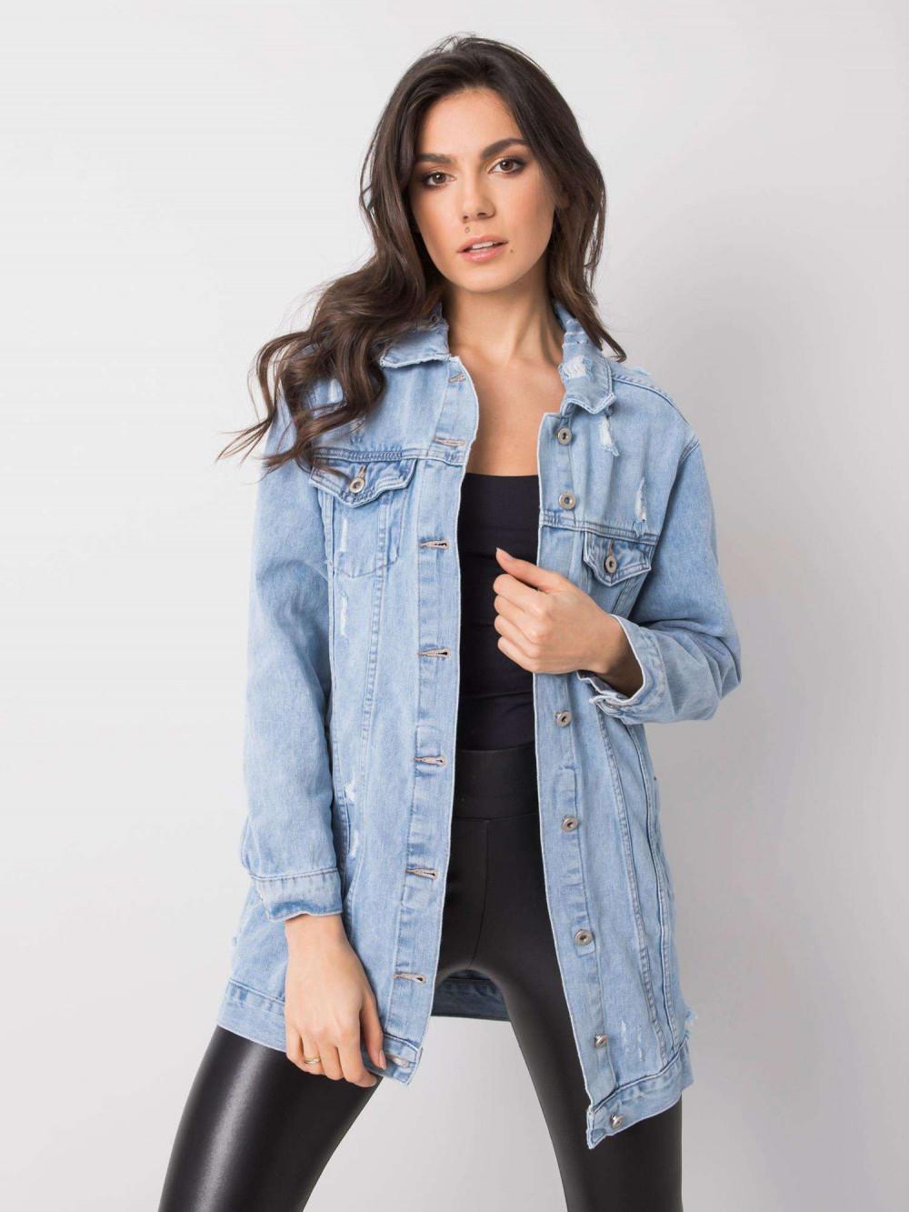 Jasnoniebieska kurtka jeansowa z przetarciami Feise 1