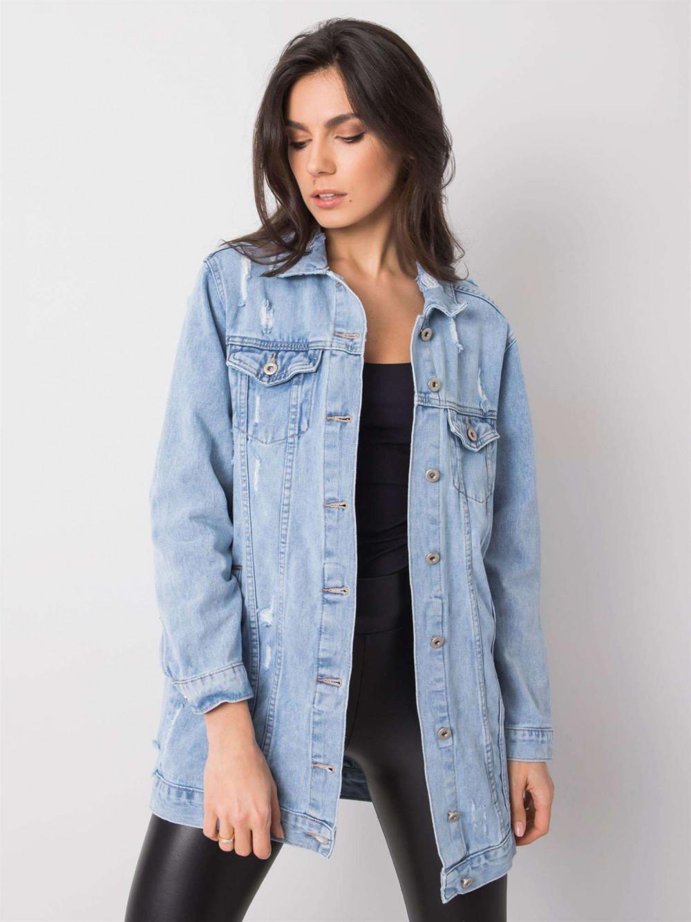 Jasnoniebieska kurtka jeansowa z przetarciami Feise 2