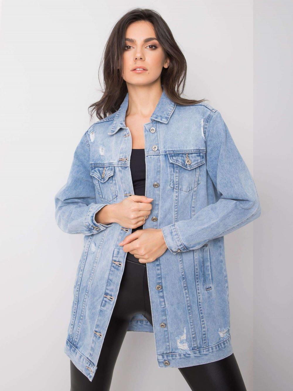 Jasnoniebieska kurtka jeansowa z przetarciami Heily 1