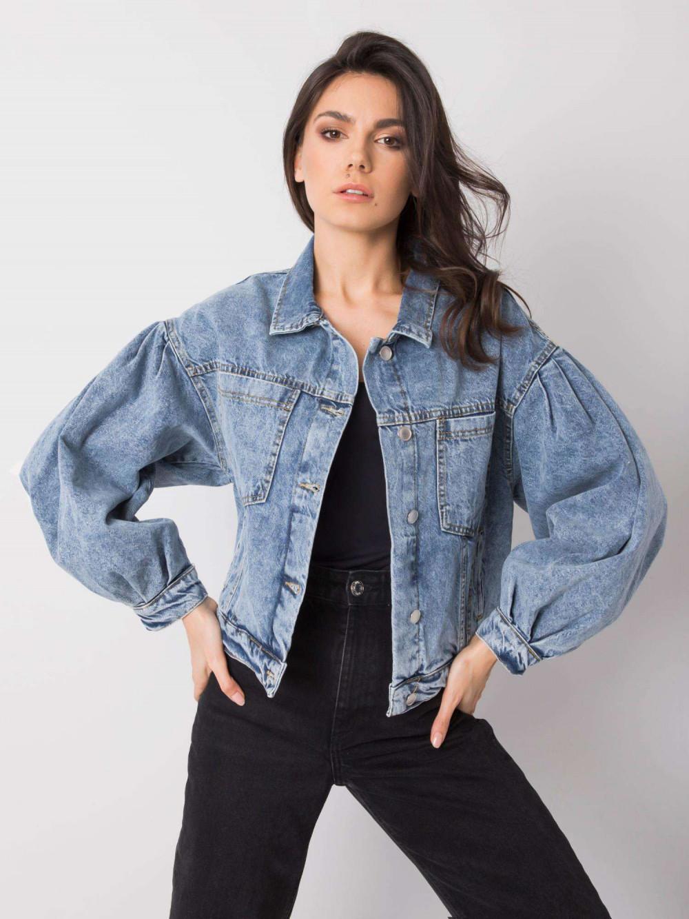 Niebieska marmurkowa kurtka jeansowa z bufiastymi rękawami Seily 2