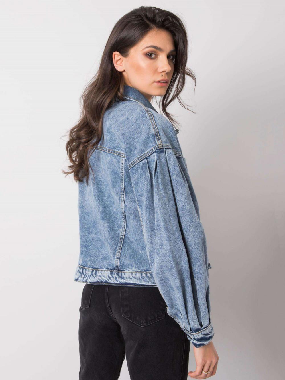 Niebieska marmurkowa kurtka jeansowa z bufiastymi rękawami Seily 4