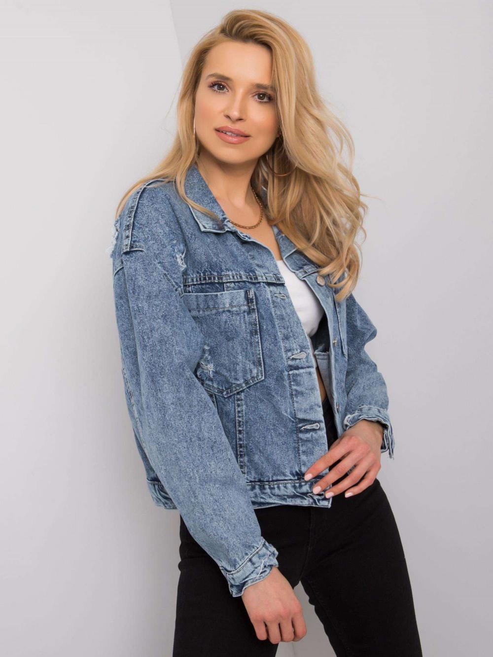 Niebieska marmurkowa krótka kurtka jeansowa Gwins 2