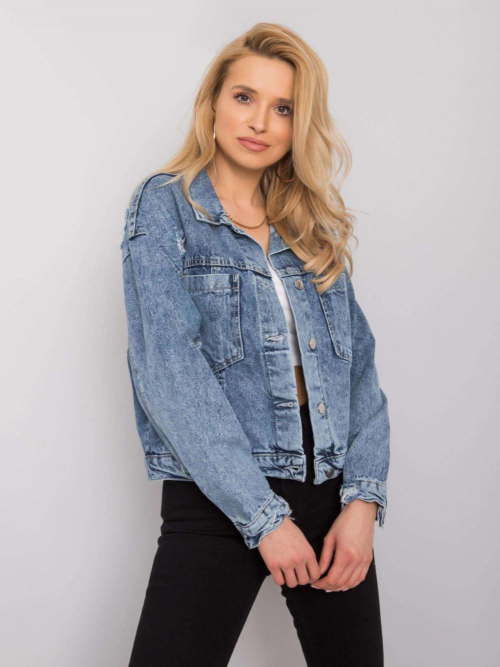 Niebieska marmurkowa krótka kurtka jeansowa Gwins 1