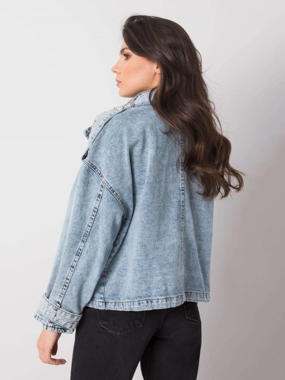 Niebieska marmurkowa kurtka jeansowa z kieszeniami Koesy 4