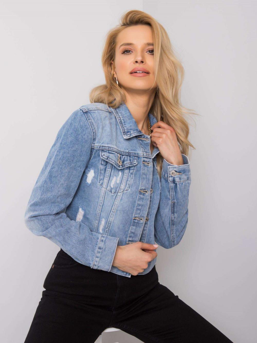 Niebieska krótka kurtka jeansowa z przetarciami Noami 2