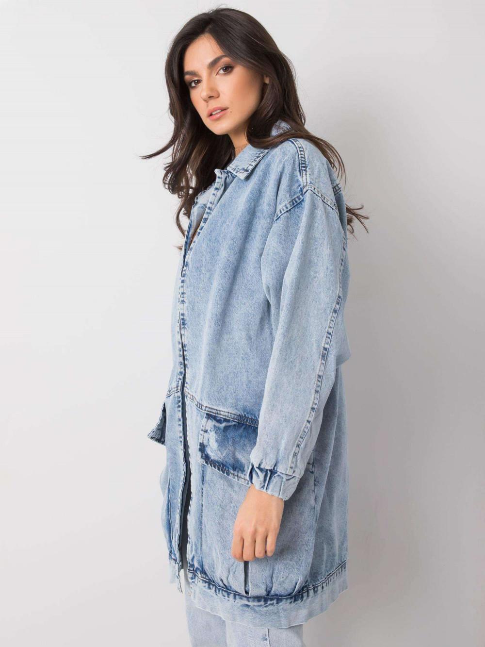 Jasnoniebieski marmurkowa długa kurtka jeansowa z kieszeniami Sallon 3