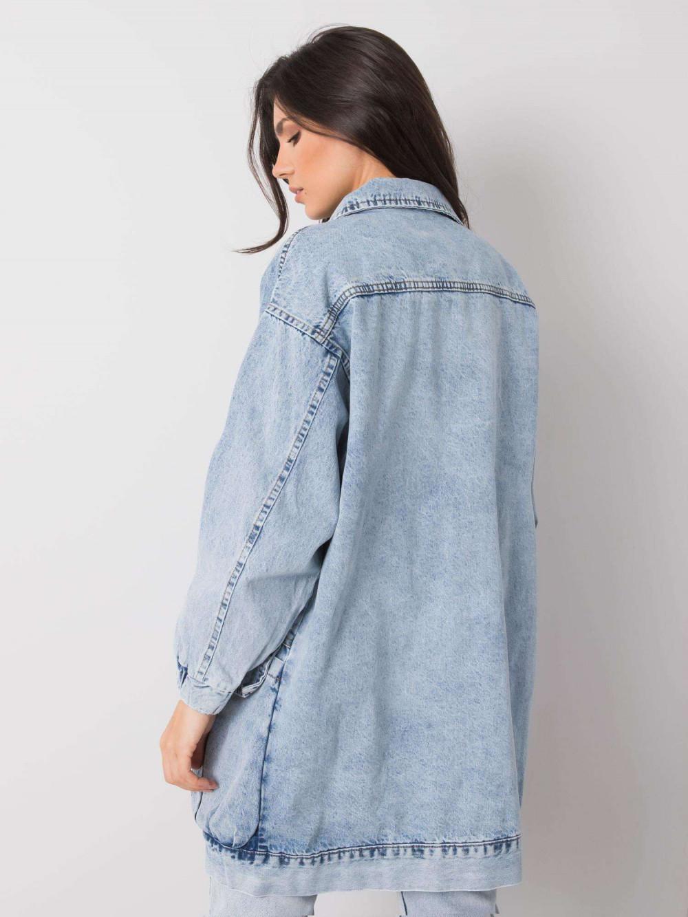 Jasnoniebieski marmurkowa długa kurtka jeansowa z kieszeniami Sallon 4